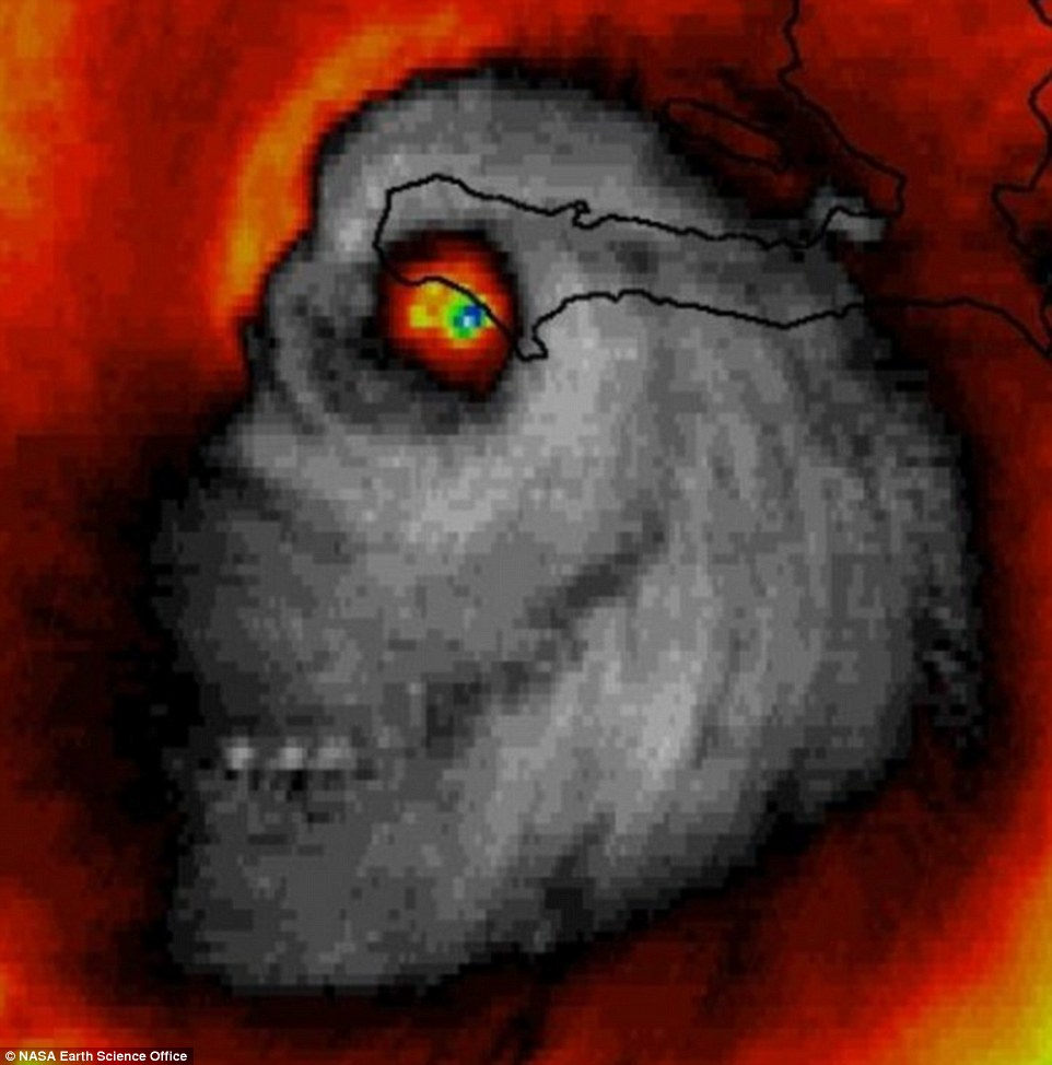 An eerie 'skull' appeared in satellite images of Hurricane Matthew on Tuesday, as the storm is expected to hit the US on Thursday