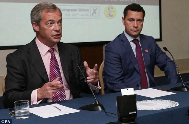 Ukip leadership farce:Mike Hookem is accused of hitting party leadership favourite Steven Woolfe (right, with Nigel Farage in June) last week in Strasbourg