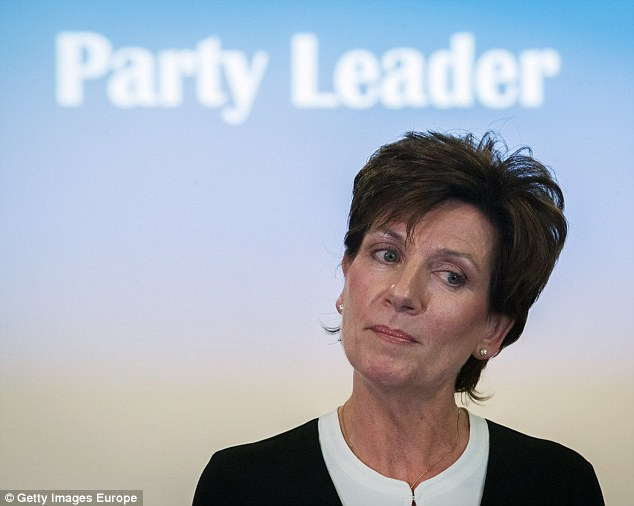 Quit after 18 days: Nigel Farage and Fuller were dragged into the Ukip leadership farce last night over claims that he regarded his successor, MEP Diane James (above), as 'an utter bitch'