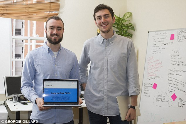 Elliot (r) and Jack (l) launched a company called Code At Uni, which teaches students computer coding