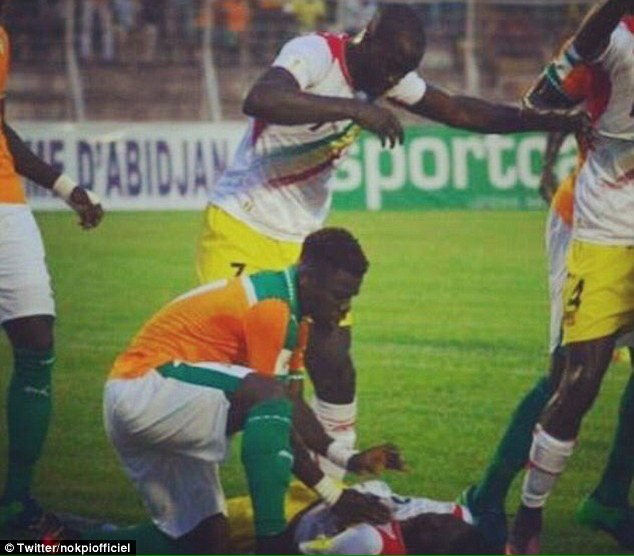 Serge Aurier came to the aid of Moussa Doumbia after the Mali player swallowed his tongue