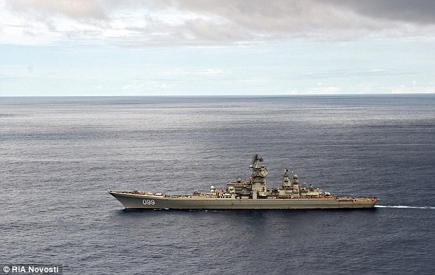 The Russian's Pyotr Veliky nuclear-powered cruiser is expected to join the fleet making its way to Syria