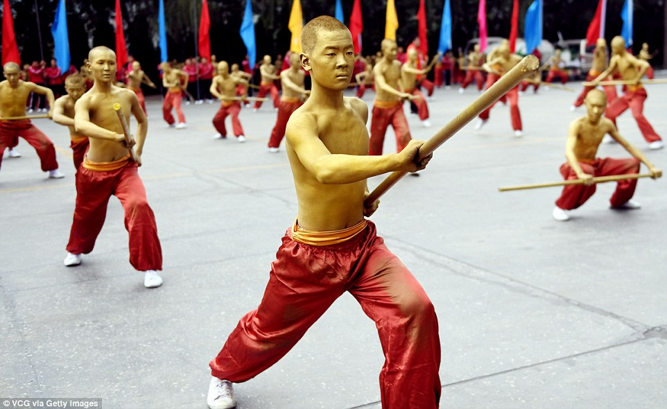 Students of martial art schools take part in rehearsals for the upcoming 11th International Shaolin Wushu Festival in Zhengzhou