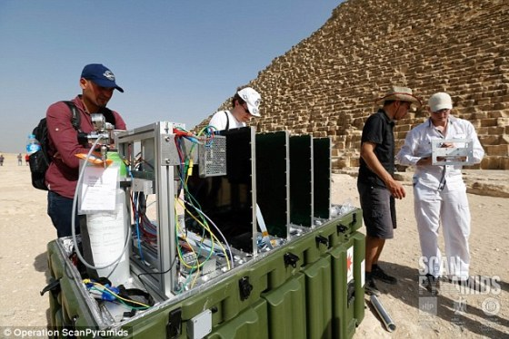 The research team carries out analysis during scanning of the Khufu pyramid