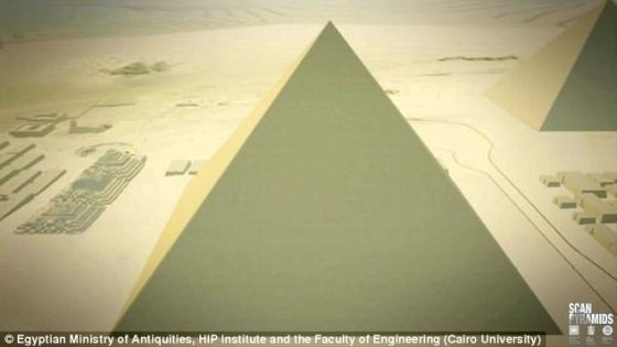 A 3D graphic shows what the he Khufu pyramid would have looked like when it was constructed 4,500 years ago
