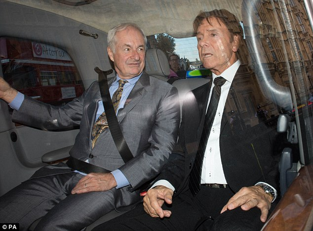 Sir Cliff Richard, pictured right alongside Paul Gambaccini leaving at the Palace of Westminster today, is due to tell MPs and peers in a private meeting people accused of sex crimes should be anonymous until charge