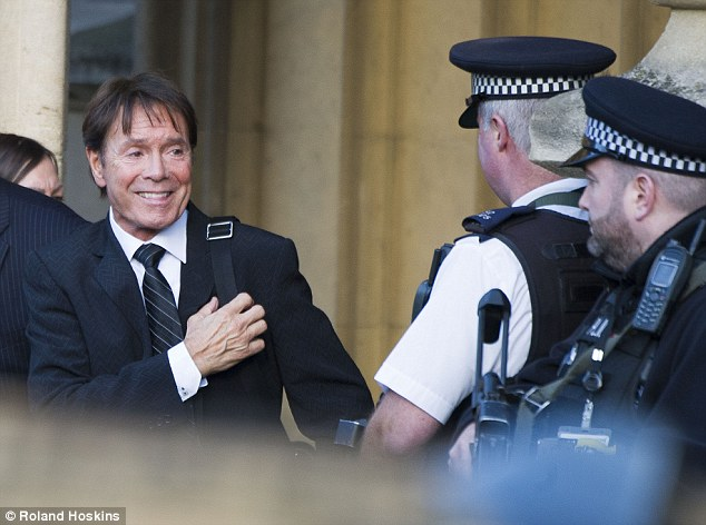 Sir Cliff, seen leaving Parliament after his meeting today, wants a change to the law after he was wrongly accused and named by South Yorkshire Police
