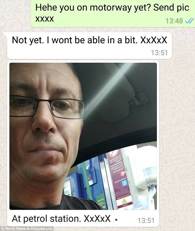 Hewitt sent a message to the girl while he was driving to Newcastle with a picture of his face