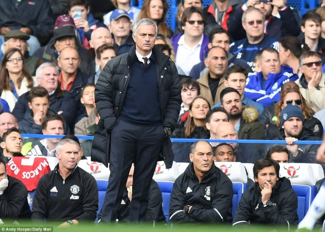 Manchester United manager Jose Mourinho endured a miserable return to his old club Chelsea at Stamford Bridge