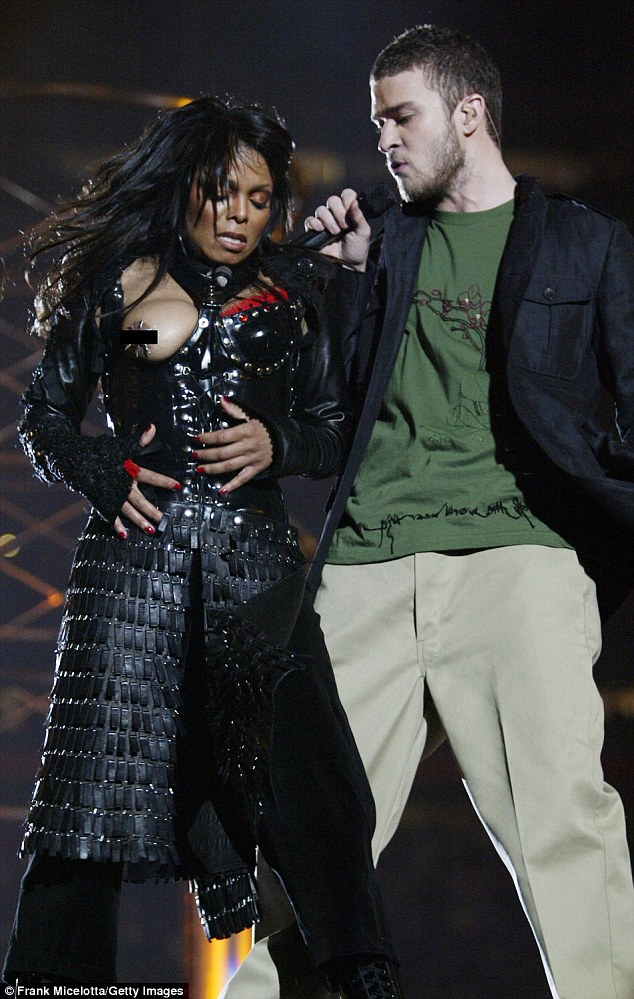 There's no chance of a wardrobe malfunction in this outfit... Janet Jackson pictured with Justin Timberlake at the Super Bowl halftime show in 2004