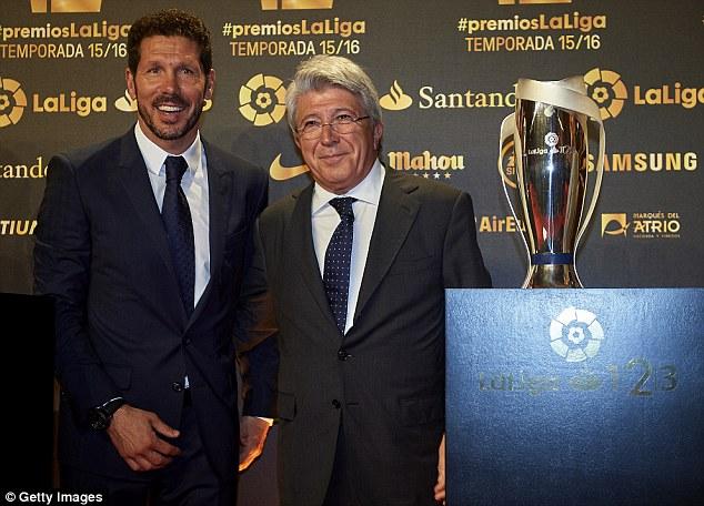 Atletico boss Diego Simeone was also named the best La Liga coach for last season