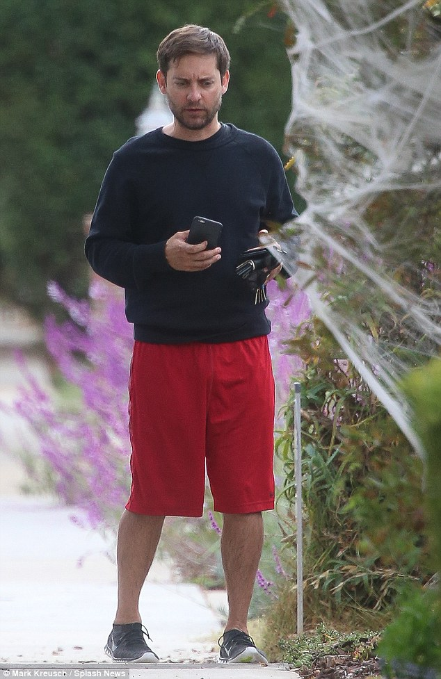 Somber: Tobey Maguire was spotted for the first time on Monday following the announcement last week that he was splitting from his wife of nine years, Jennifer Meyer