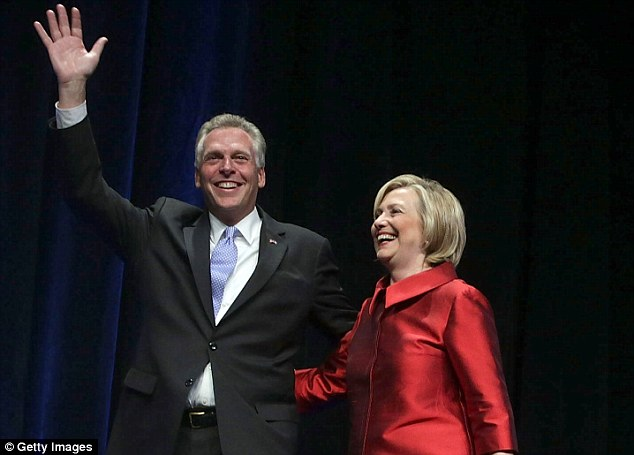 So close: Hillary Clinton headlines a fundraiser for the Common Good VA and walks on stage with Terry McAuliffe, the Virginia governor who controls its cash. That month it started channeling money to Jill McCabe's campaign