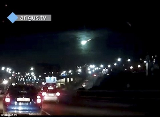 The bright light looks like it could have been a meteor or part of a falling missile as it hurtles across the sky