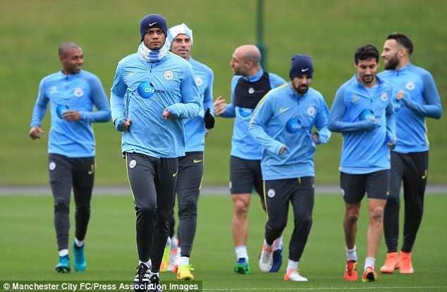 Vincent Kompany led the way in Manchester City's training session on Thursday afternoon