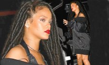 Too cool to dress up! Rihanna puts on a leggy display in a bardot coat and sexy boots as she forgoes costume at Halloween bash in New York