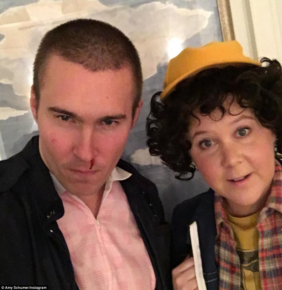 Amy Schumer went with one of the most popular Halloween costumes this year, dressing up as Dustin from the Netflix show Stranger Things while her boyfriend Ben Hanish coordinated as the character Eleven