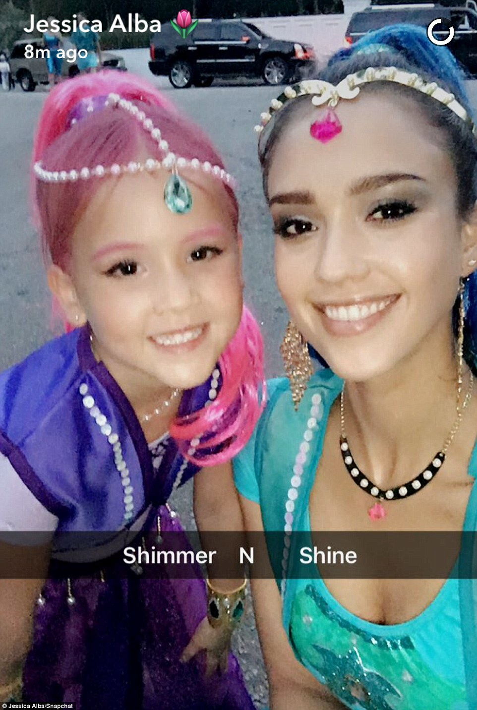 Earlier this weekend Alba dressed up as a character from her daughter's favorite television show Shimmer and Shine