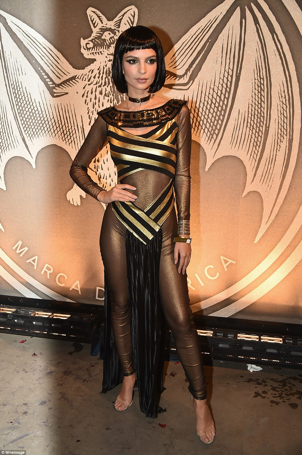 Emily Ratajkowski channeled Cleopatra while attends a Halloween party in Brooklyn on Saturday night
