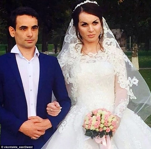 Transgender Muslim woman Raina Aliev (right with her husband) has been hacked to death in Russia days after marrying a man after her father pleaded on television: 'Bring him here and kill him in front of my eyes'