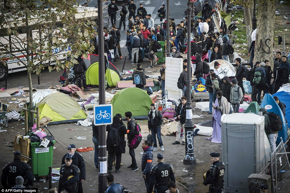 Up to 3,000 migrants set up tents on the pavements around the Stalingrad Metro station, which is close to the Gare du Nord Eurostar hub in the north of Paris
