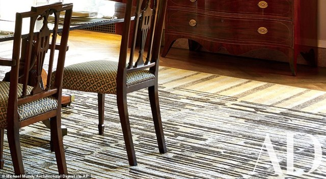 The pictorial weaving Black, White, and Gray by Anni Albers has been adapted for the rug in the room