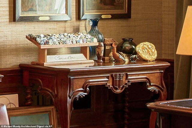 Obama's uses the Treaty Room's namesake table (above), which has been in the White House since 1869, as a desk when he is in the room