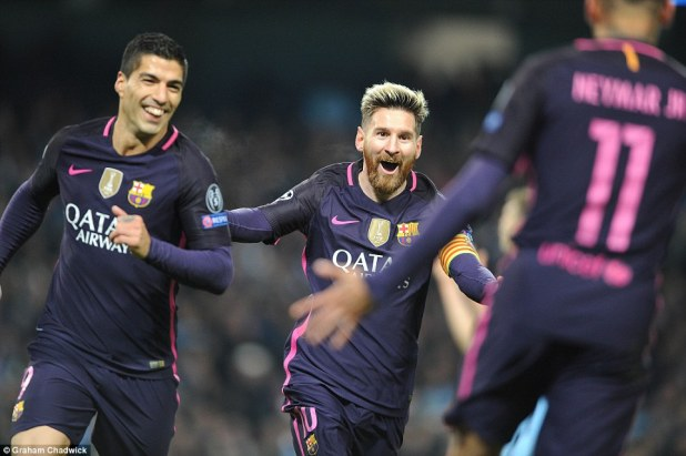 Lionel Messi (centre) celebrates with Luis Suarez (left) and Neymar (right) after his 21st-minute goal on Tuesday night