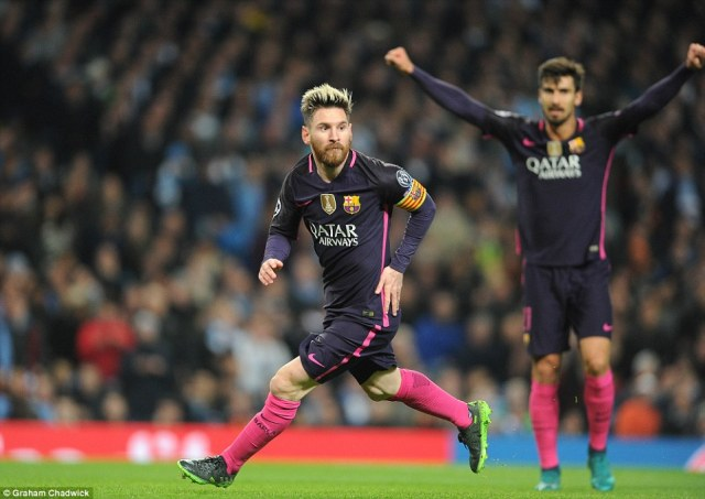 Barcelona's Argentine maestro Messi wheels away to enjoy his strike against Premier League table-toppers City