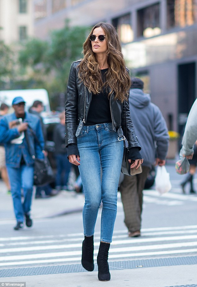 Izabel Goulart Is Rocker Chic In Leather Jacket At