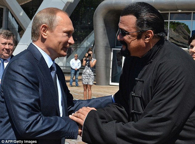 Putin and Seagal have struck up a bromance in recent years, with Seagal visiting Russia repeatedly and defending Moscow's 2014 annexation of Crimea from Ukraine. The two pictured above in September 2015 in Vladivostok, Russia