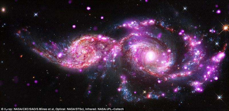 Images of the galaxies released in December 2014 showed the large number of super-bright sources of X-rays that may indicate a new type of black hole. The two galaxies in the image, NGC 2207 and IC 2163, are located about 130 million light-years from Earth in the constellation of Canis Major, and together measure 180,000 light-years across
