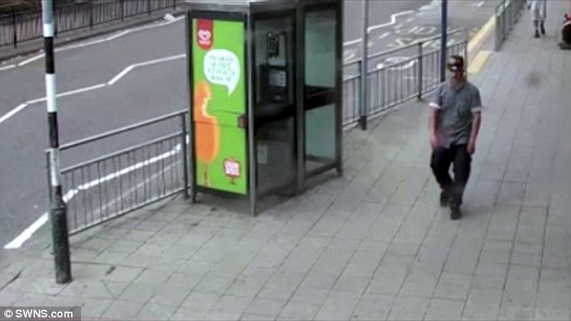 Birmingham Crown Court heard Hussain displayed 'arrogant', 'cocky' and 'agitated' behaviour after getting on the tram on July 22. The CCTV footage is pictured above