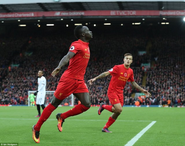 Mane has been in terrific form for the Reds this season and wheeled away in delight with Philippe Coutinho