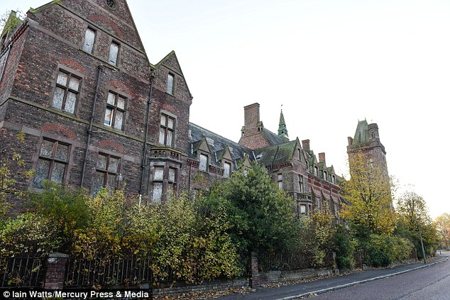The 32-strong group visited the abandoned Newsham Park Hospital in Liverpool (pictured)