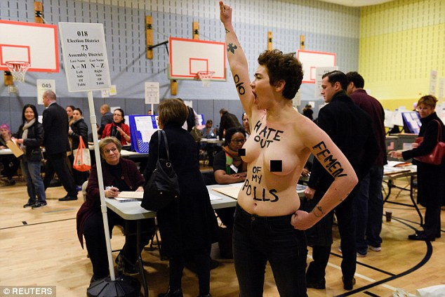 A statement on the FEMEN official blog read: 'An authoritarian and nationalist Trump should never be in a position of political power, it is dangerous for our nation and for the world'
