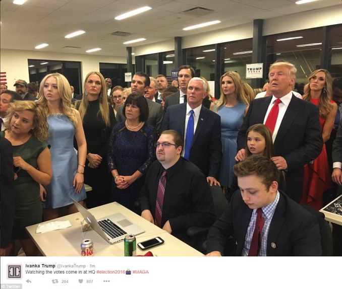 Team Trump - including Donald Trump, his family, and running mate Mike Pence - watches election results. Ivanka Trump posted the image to her Twitter feed