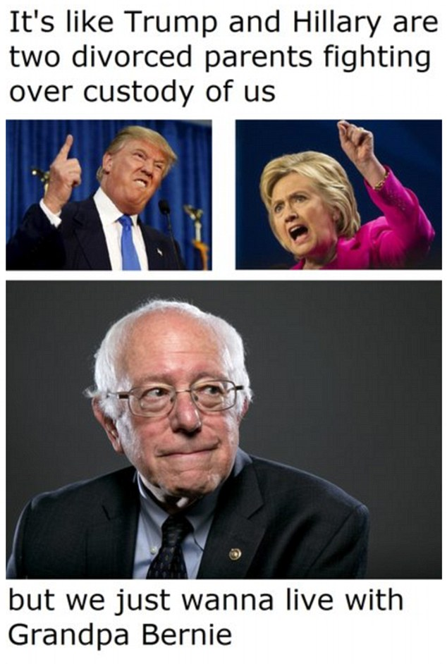 One tweet imagined Trump and Clinton as divorced parents battling for custody of their children along with the words '...but we just wanna live with Gradpa Bernie'