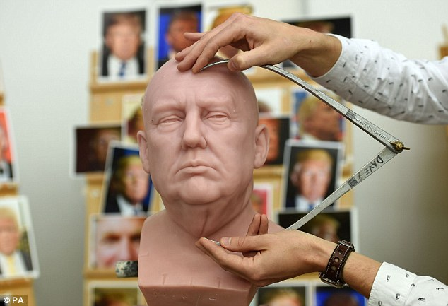 Sculptors use hundreds of photographs and measurements in order to gain precise dimensions for their likenesses