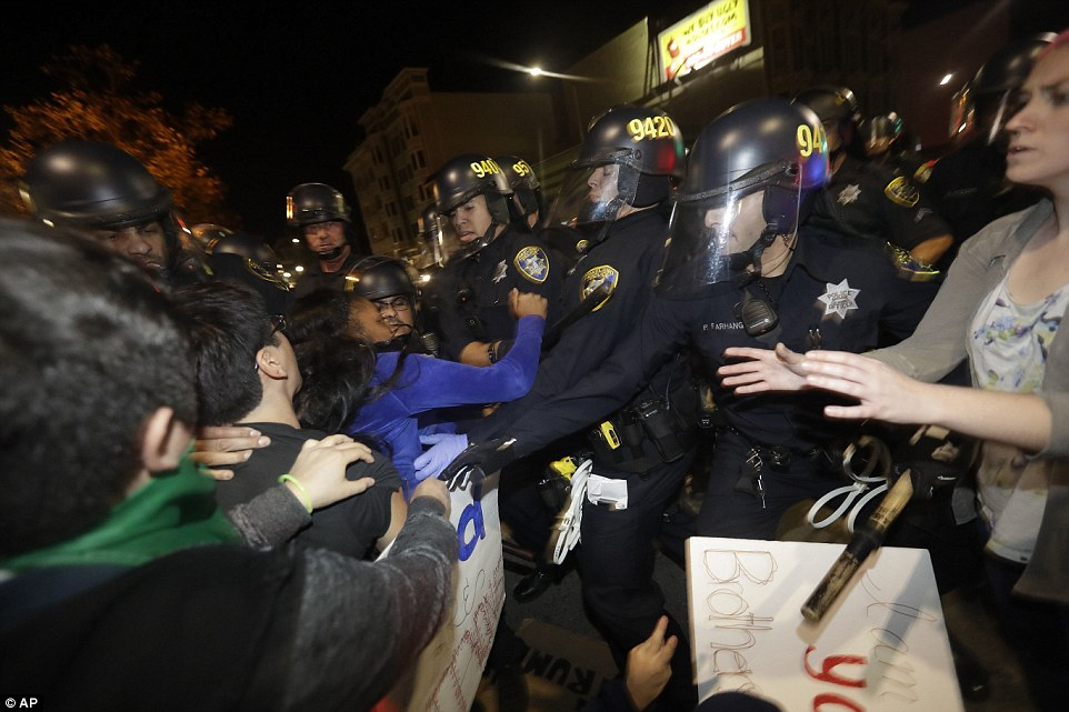 Oakland: Protesters clash with police in Oakland, California, where one of the most violent rallies was held Wednesday