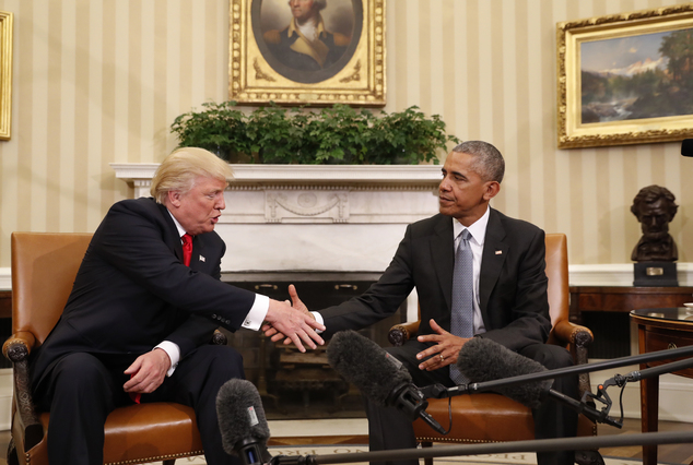 President Barack Obama shakes hands with President-elect Donald Trump in the Oval Office of the White House in Washington, Thursday, Nov. 10, 2016. (AP Photo...