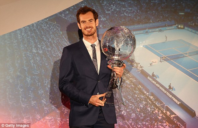 Image result for Andy Murray collects world No.1 trophy at ATP World Tour Finals gala