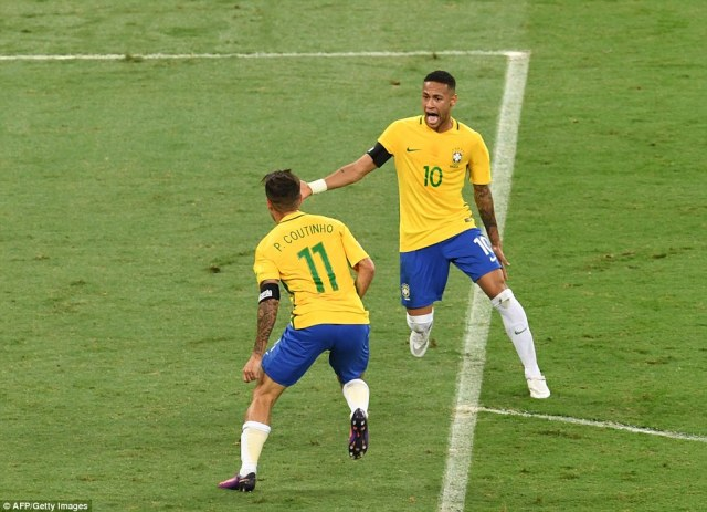Neymar was the first player to reach Coutinho to celebrate after his side took the lead against their old foes
