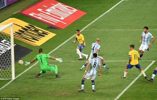 Neymar went close to doubling the advantage for the hosts but his shot, after a driving run, was saved by Sergio Romero