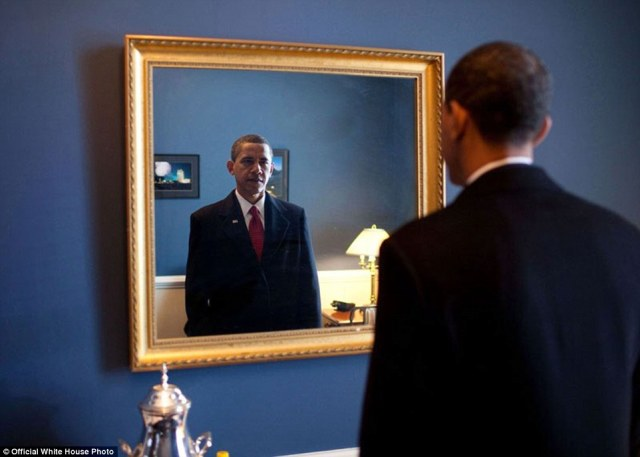 January 20, 2009. 'President-elect Barack Obama was about to walk out to take the oath of office. Backstage at the U.S. Capitol, he took one last look at his appearance in the mirror'
