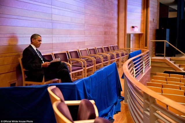 U.S. President Barack Obama works on his Newtown speech at The Music Center at Strathmore auditorium on December 16, 2012 in Bethesda, Maryland. Obama later visited Newtown, Connecticut to speak at an interfaith vigil for the shooting victims from Sandy Hook Elementary School
