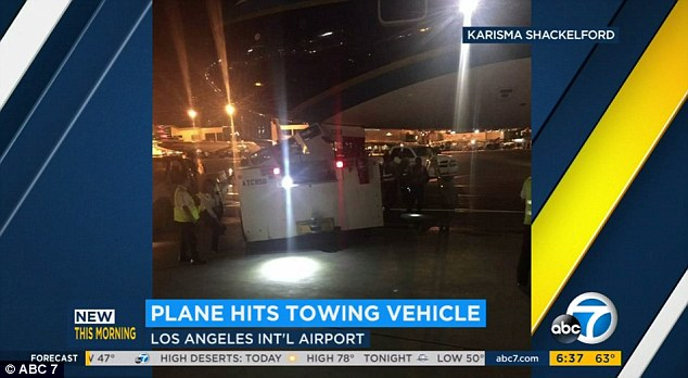 The collision happened on a taxi lane between Tom Bradley International Terminal (TBIT) and Terminal Four around midnight