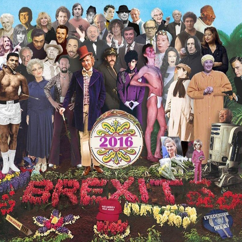 Inspired by an iconic Beatles album cover, it is a touching tribute to the long list of celebrities who have died this year
