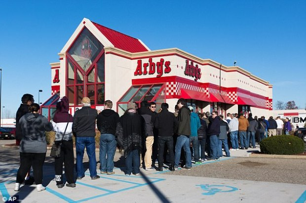 Customers waited outside of an Arby's fast food restaurant offering venison sandwiches in Plainwell, Michigan last November. The sandwich sold out within one hour