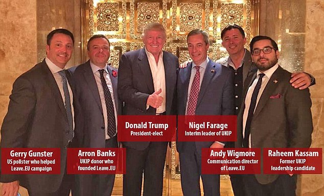 Nigel Farage (pictured centre with Donald Trump) met the president-elect in his Trump Tower penthouse with Ukip donor Arron Banks (second from left), Leave.EU communications chief Andy Wigmore (second from right) and former Ukip aide Raheem Kassam (right). Mr Trump's pollster Gerry Gunster (pictured left) helped with the Brexit campaign and also joined the gathering on Saturday night in New York